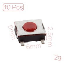 все цены на 10 Pcs 6x6x2.5mm 4 Pins Momentary Push Button SMD SMT Tactile Tact Switch онлайн