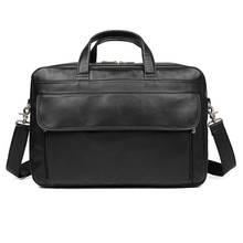 Mens Briefcase Real Leather  Black Business Fashion 17 Laptop Travel Big Large Capacity Handbag Bags Man Brand Briefcases Bag