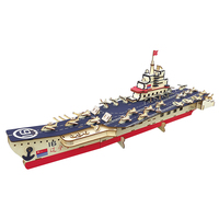 Super aircraft carrier wooden assembly n scale model kit puzzle toy for adult para armar adultos modellismo navale kit in legno