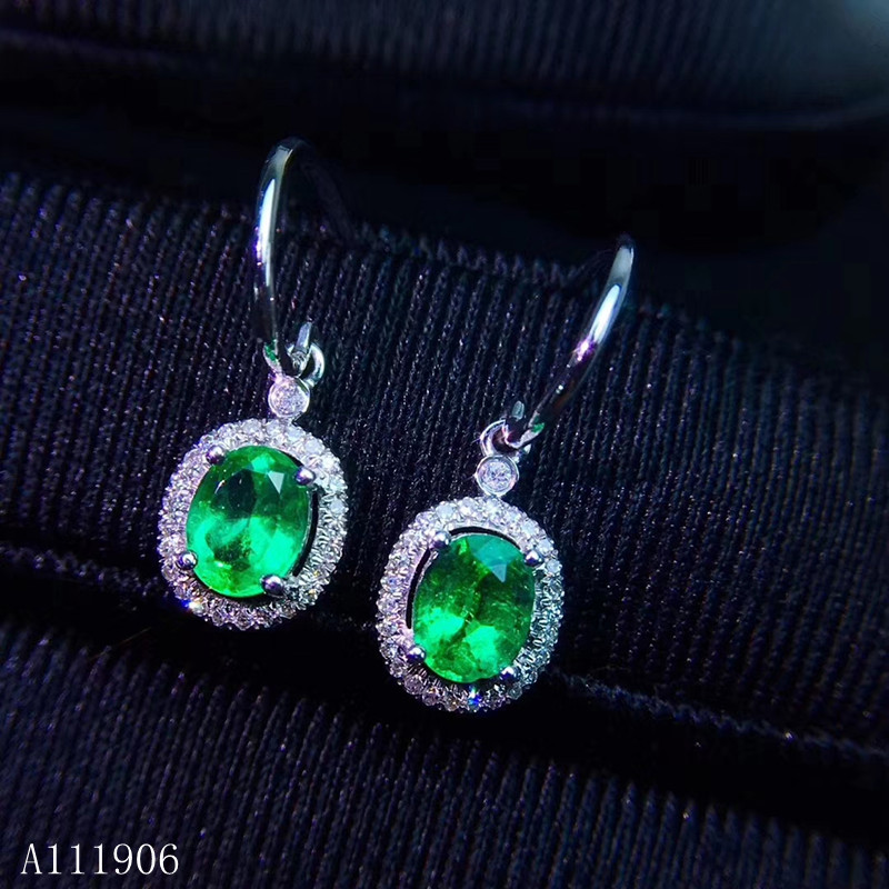 KJJEAXCMY Fine Jewelry 925 sterling silver inlaid natural emerald green female earrings support re examination