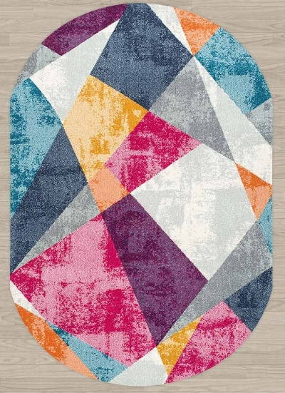 Else Pink Gray Yellow Vintage Patchwork Geometric 3d Print Non Slip Microfiber Living Room Modern Oval Washable Area Rug Carpet