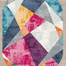 Else Rosa gris amarillo Vintage Patchwork geométrico 3d impresión antideslizante microfibra sala de estar moderna alfombra lavable de área ovalada alfombra