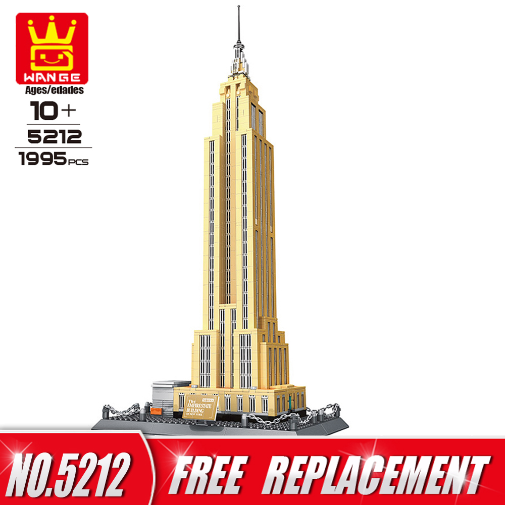 WANGE Building Blocks World Famous Architecture Series Empire State building of NewYork Funny Toys also for Home Decor NO.5212 mr froger loz taipei 101 tower diamond block world famous architecture series minifigures building blocks classic toys children
