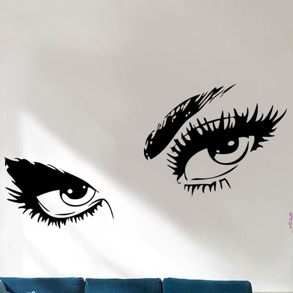 Hot Sale Big Eyes wall sticker home decal long eyelashes design wall decor sticker Black color elegant New Fashion Gift
