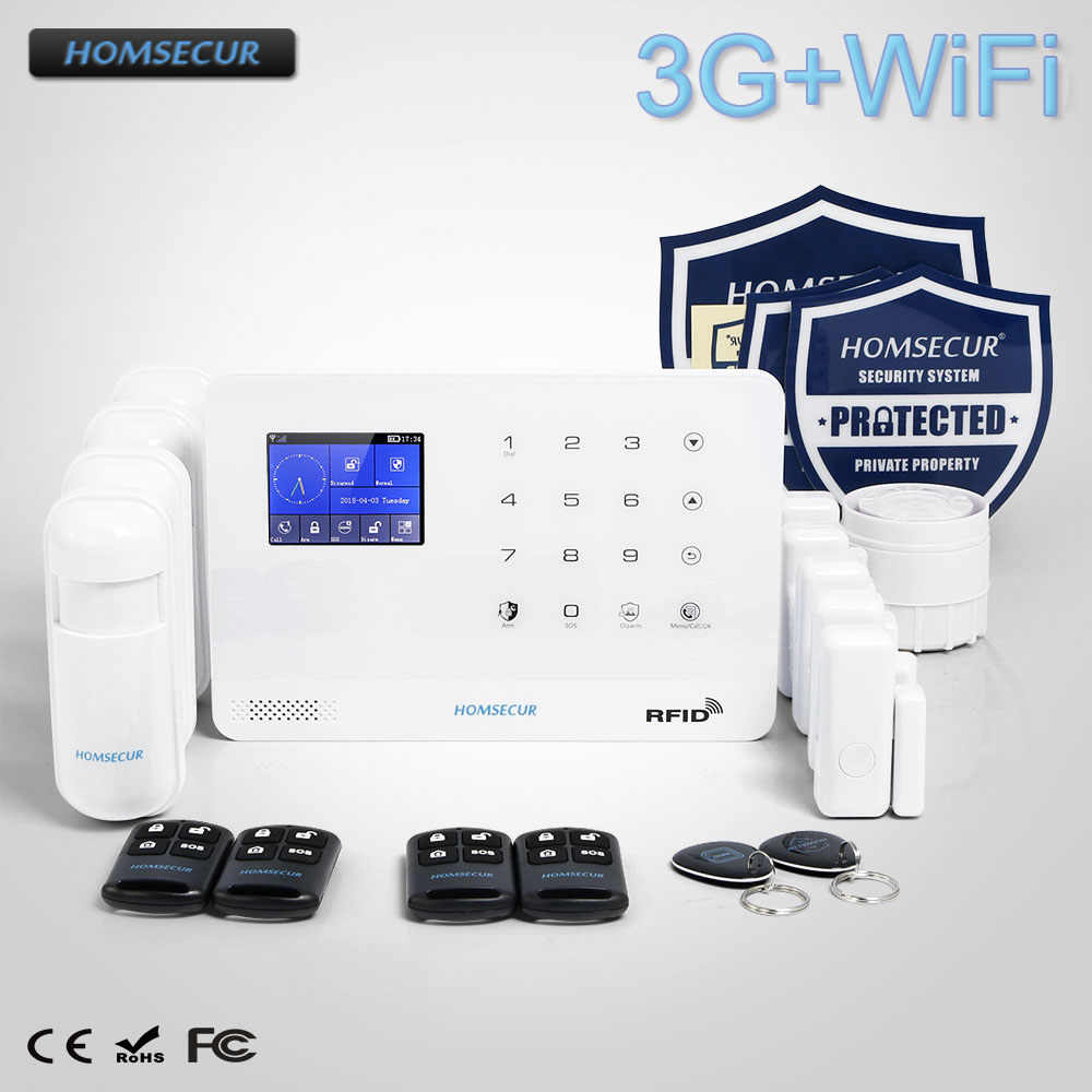 HOMSECUR Wireless/&wired 4G LCD SMS Autodial Home House Alarm System+Touch Panel