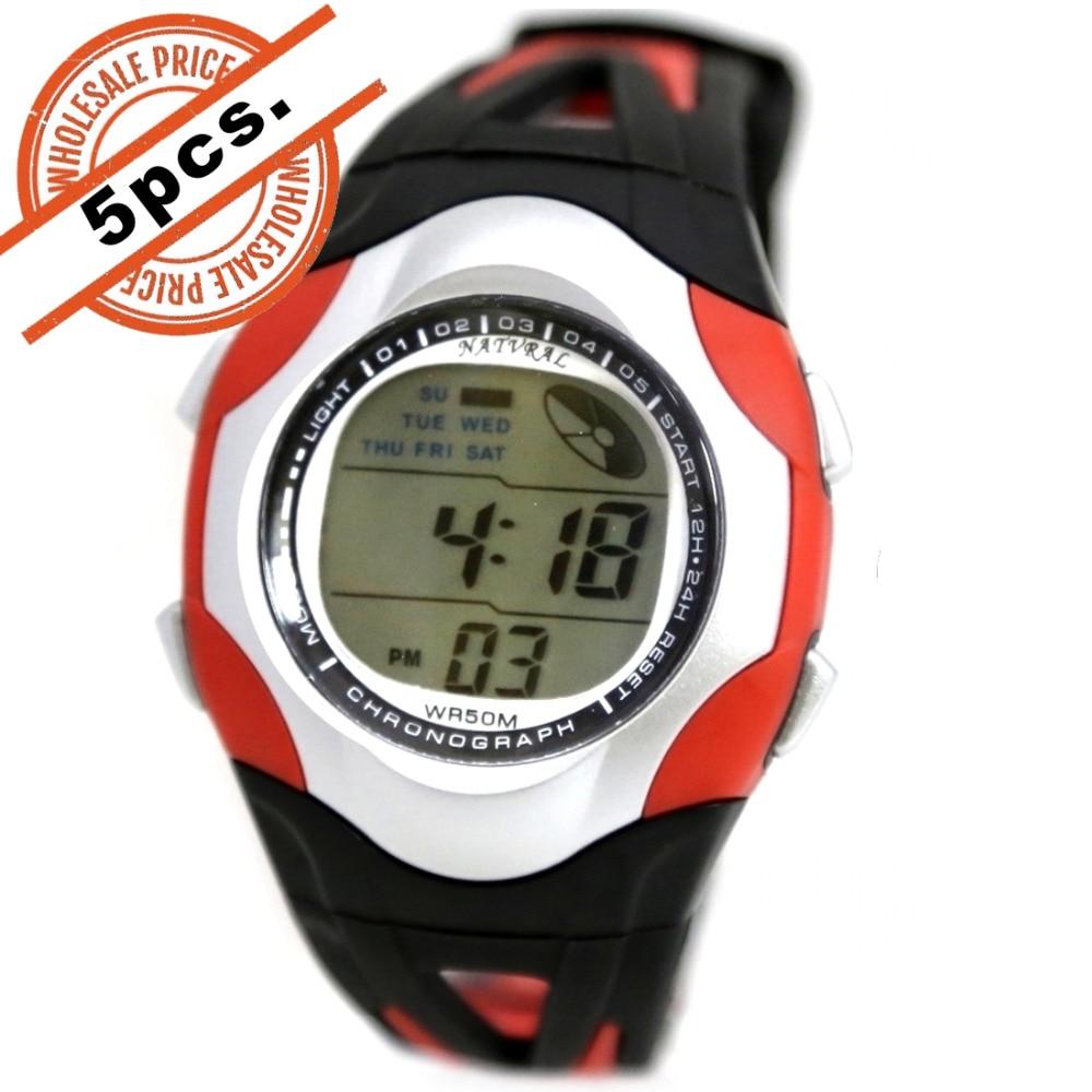 5PCS. Wholesale DW313K Round PNP Shiny Silver Watchcase Date Alarm BackLight Women Digital Watch