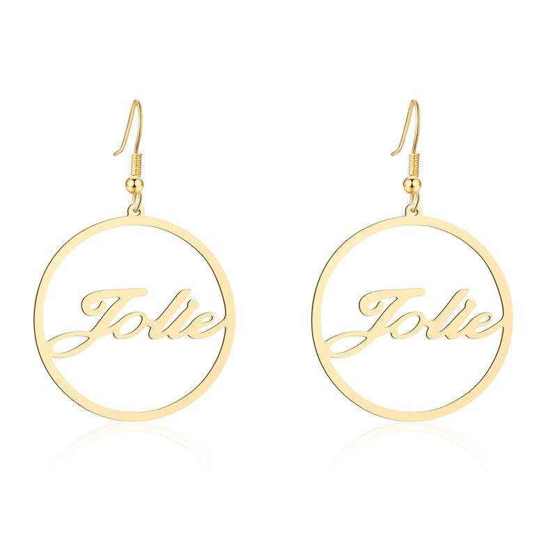 Personalisierte Frauen Name Ringe Schmuck Für valentinstag Edelstahl Gold Farbe Gewohnheit Irgendeine Name Großen Ohrringe Weihnachts Geschenk