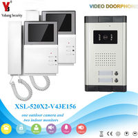 Yobang Security Video Intercom 4.3 Inch Video Door Phone Doorbell Visual Intercom Doorbell Entry System 1 Camera 2 Monitor