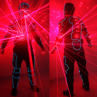 2018 лазерный костюмы для роботов, красный лазерный куртка для лазерных вечеринок LED светодиодный, EL провода светящиеся костюм Американский т