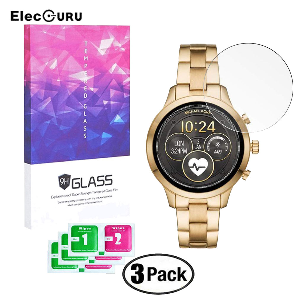 3 Pack Tempered Glass Screen Protector For Michael Kors Runway(2018 Version)MKT5045 Smartwatch 9H Anti Scratch Protective Glass