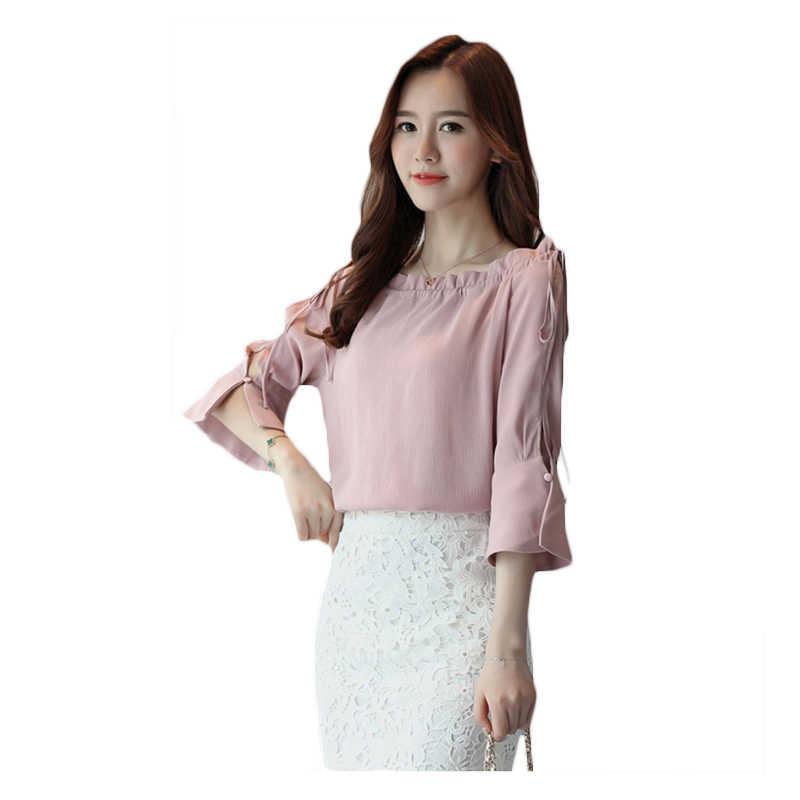 2018 קיץ חדש שיפון חולצה נשים צופר חצי שרוולים חולצה חשוף כתף שיפון חולצה נשי אביב מודלים חולצות Is006