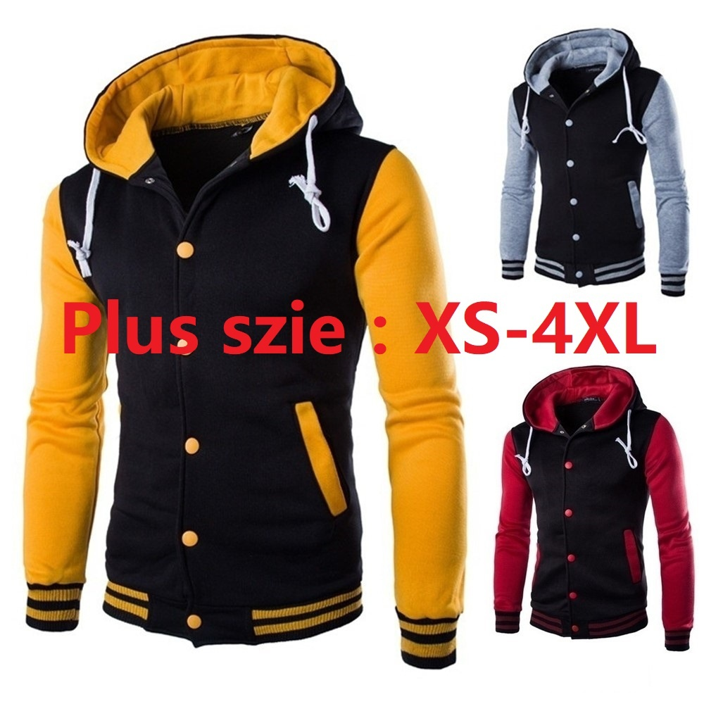 2017 Autumn Fashion Young Man And Woman Baseball Hoodie Men Patchwork Hoody Fleece Sport Sweatshirt PLUS SIZE XS-4XL