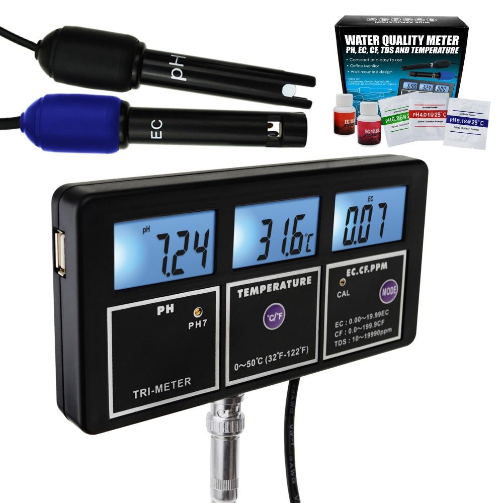 5-in-1 di Acqua di Qualità Multi-parametro PH CE CF TDS (ppm) temperatura montabile a Parete Ricaricabile Continuo Monitor Tester