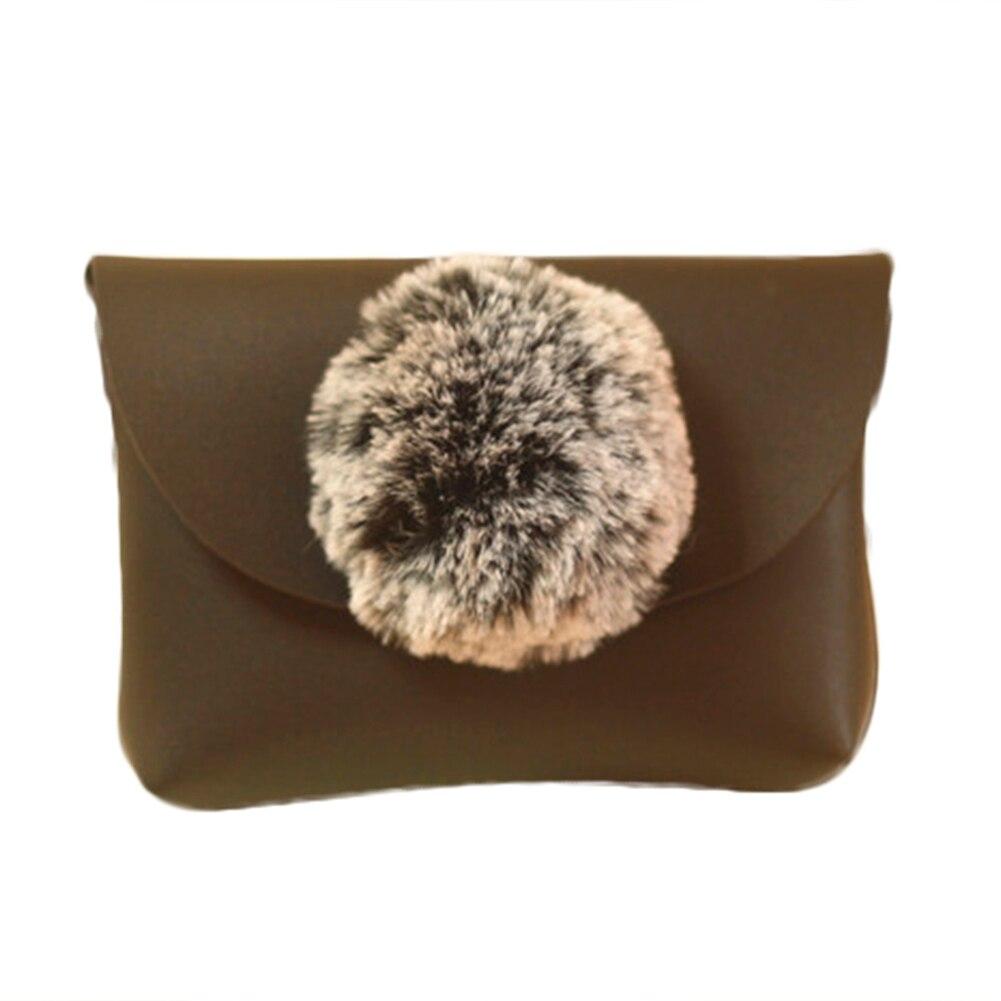 Children Kid Girls Plush Fur Ball Shoulder Bag Winter Chain Handbag Pouch Purse