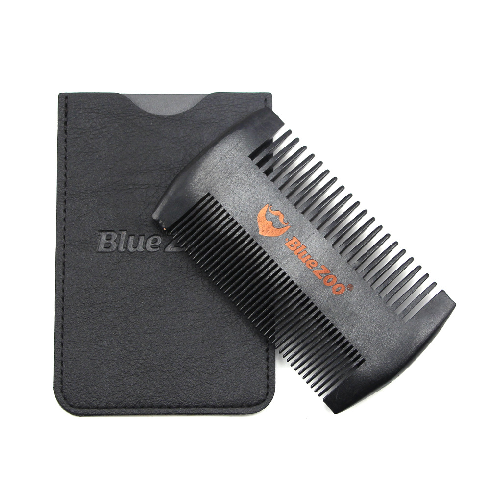 Black Wooden Comb Anti-Static Beard Comb Brush Mustaches Pocket Wood Comb Black and Brown Colors Protective Cover 3