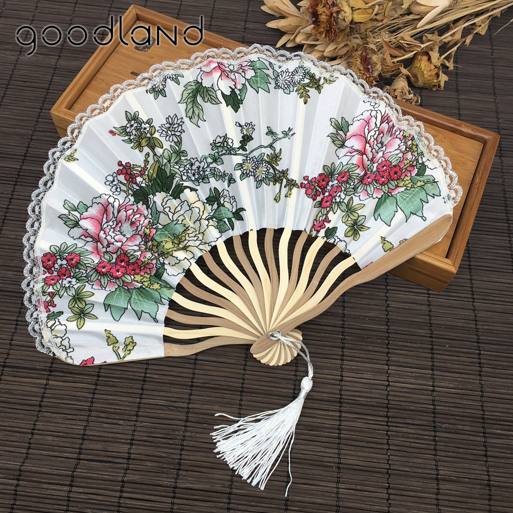 wholesale free drop shipping 100pcslot lace edge japanese cherry blossom folding hand fan fabric floral wedding favors - Halloween Lace Fabric