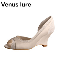 Venus lure Custom Handmade Ladies Lace Ivory Bridal Wedge Shoes Peep Toe Wedding Shoes