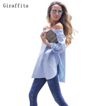 Giraffita 2017 Elegant Bow Blue Off Shoulder Female Blouse Shirt Sexy Summer Girls White Blouse Women Tops Striped Blusas