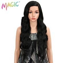 Magic Lace Front Pruik Lange Synthetische Pruik Ombre 613 Blonde Losse Golvend Haar Synthetische Pruiken Voor Zwarte Vrouwen Wit Cosplay pruik