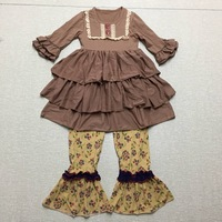 Brown Lace Bib Discount Sale Smart Casual Baby Girl Sets Cute Infant Apparel Accessory