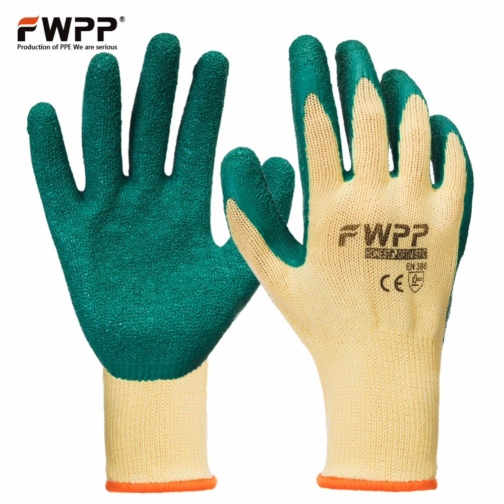 FWPP 12 Pairs Knit Work Gloves Textured  Latex Coated Work Gloves Auto repair Work Gloves Cotton yarn Yellow Green M L XL les бархатное платье
