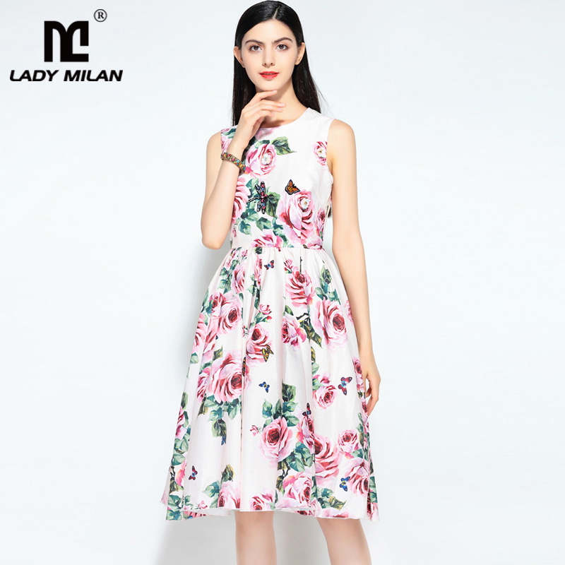 Lady Milan 2018 Womens O Neck Sleeveless Floral Printed Appliques High Street Fashion Designer Causual Summer Runway Dresses