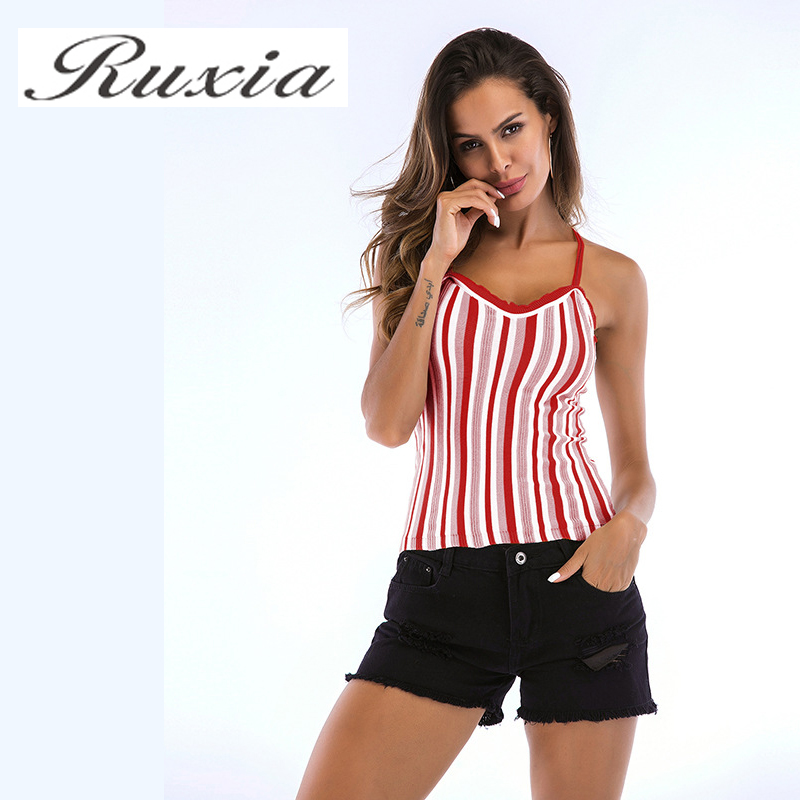 Ruxia Cami Top For Women Splicing V-Neck Striped Camis Sexy Double Strap Top Female T-Shirt 2018 Hot Sale Women Clothers