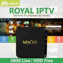 ФОТО mx10 smart tv box android 8.1 with 1 year royaltv configured arabic europe iptv  set top box media player