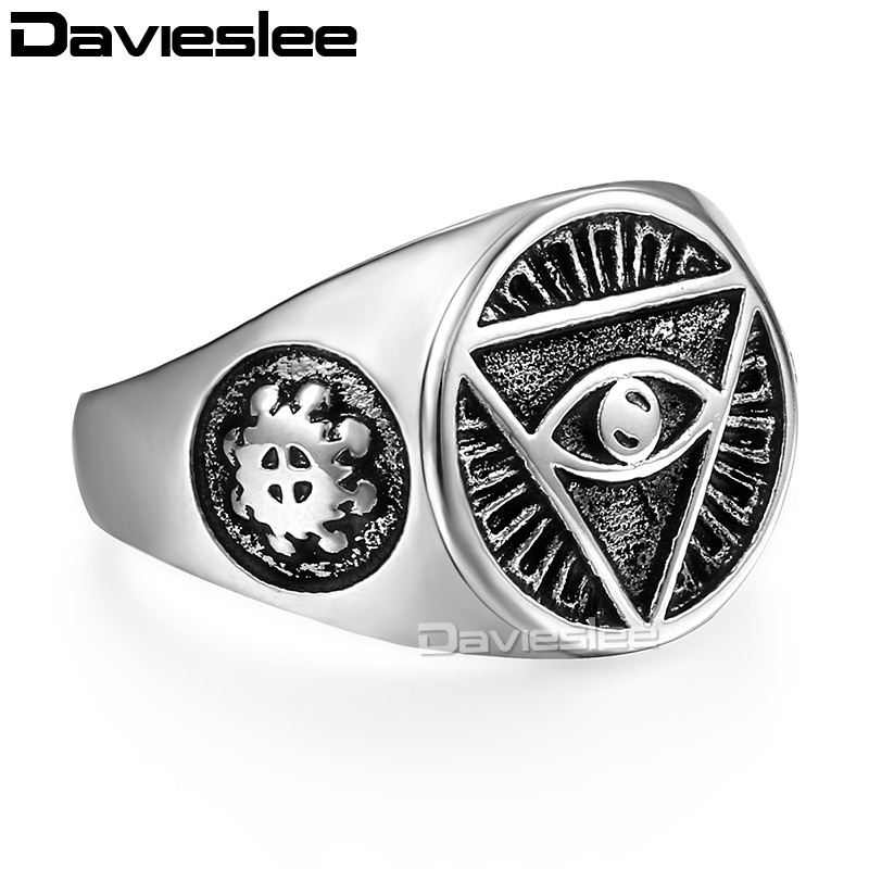 17mm Womens Mens Ring Triangle Silver Tone Gold Color 316L Stainless Steel Signet US Size 7-13 LHR365