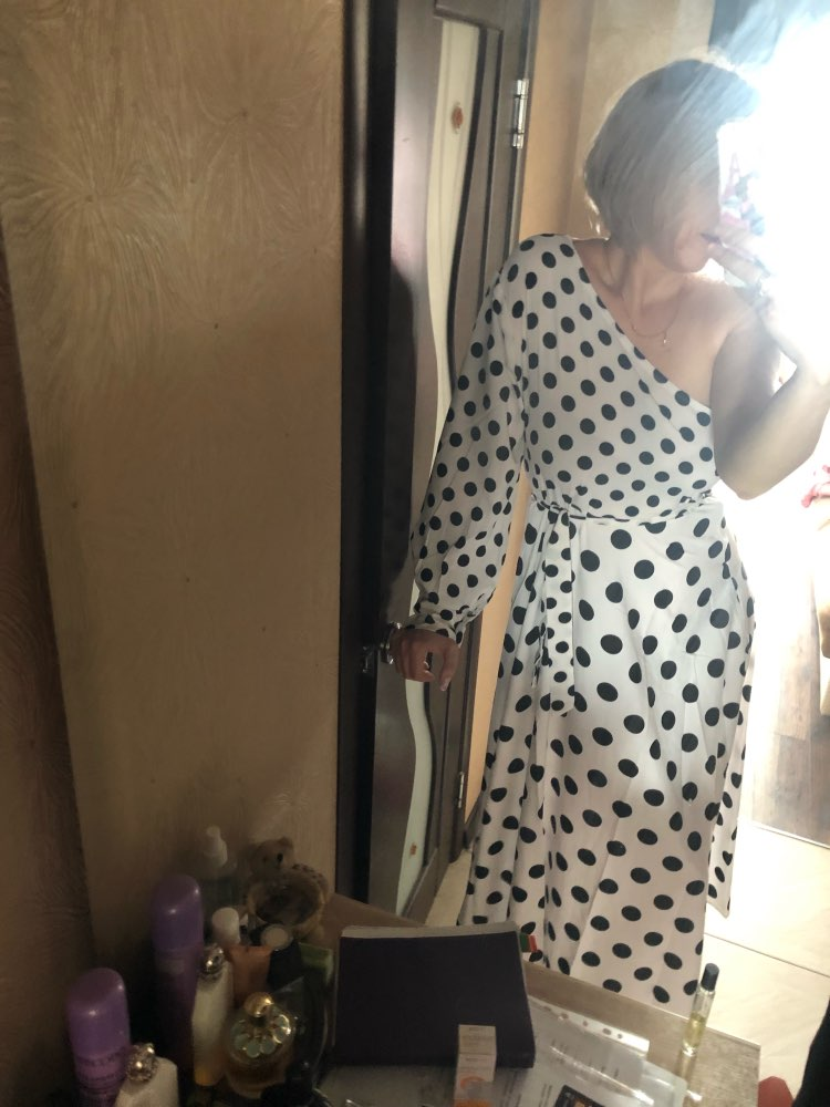 Women Casual Polka Dot Printed Dress Summer Sexy One Shoulder Long Sleeve Long Maxi Dress Elegant Party Club Sashes Vestidos photo review