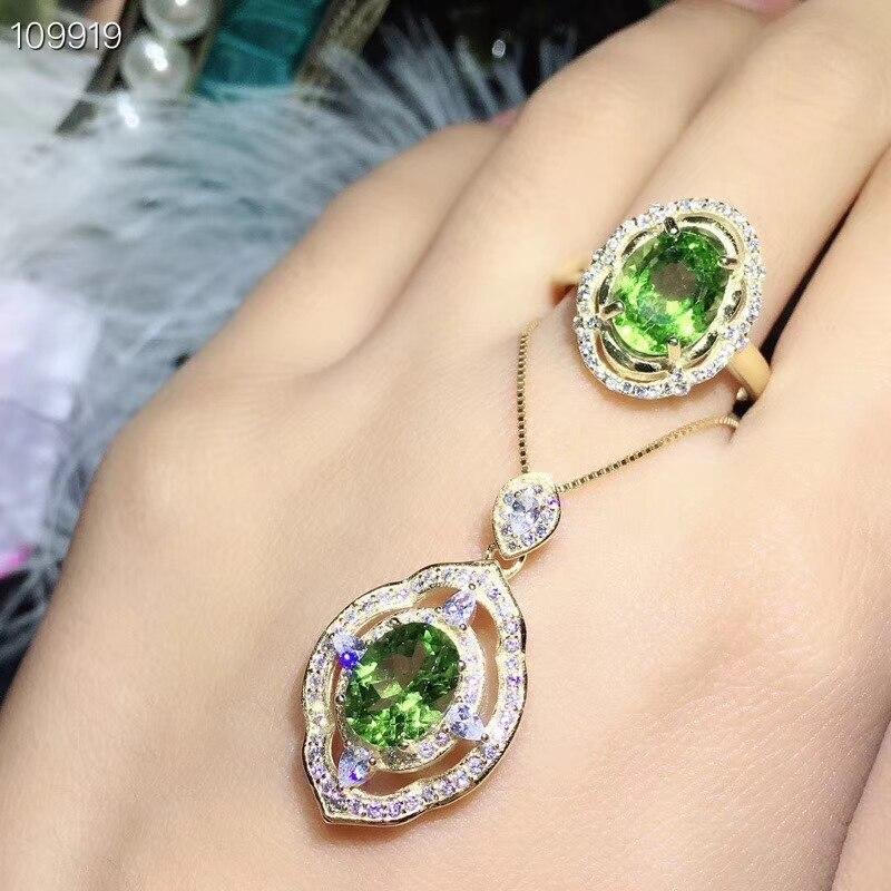 KJJEAXCMY boutique bijoux 925 argent sterling incrusté naturel olivine collier pendentif anneau costume soutien détection