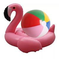 Baby Swimming Ring Flamingo Seat Inflatable Flamingo Pool Float with 30cm Beach Ball Baby Summer Water Pool Toy for Kids,HA111