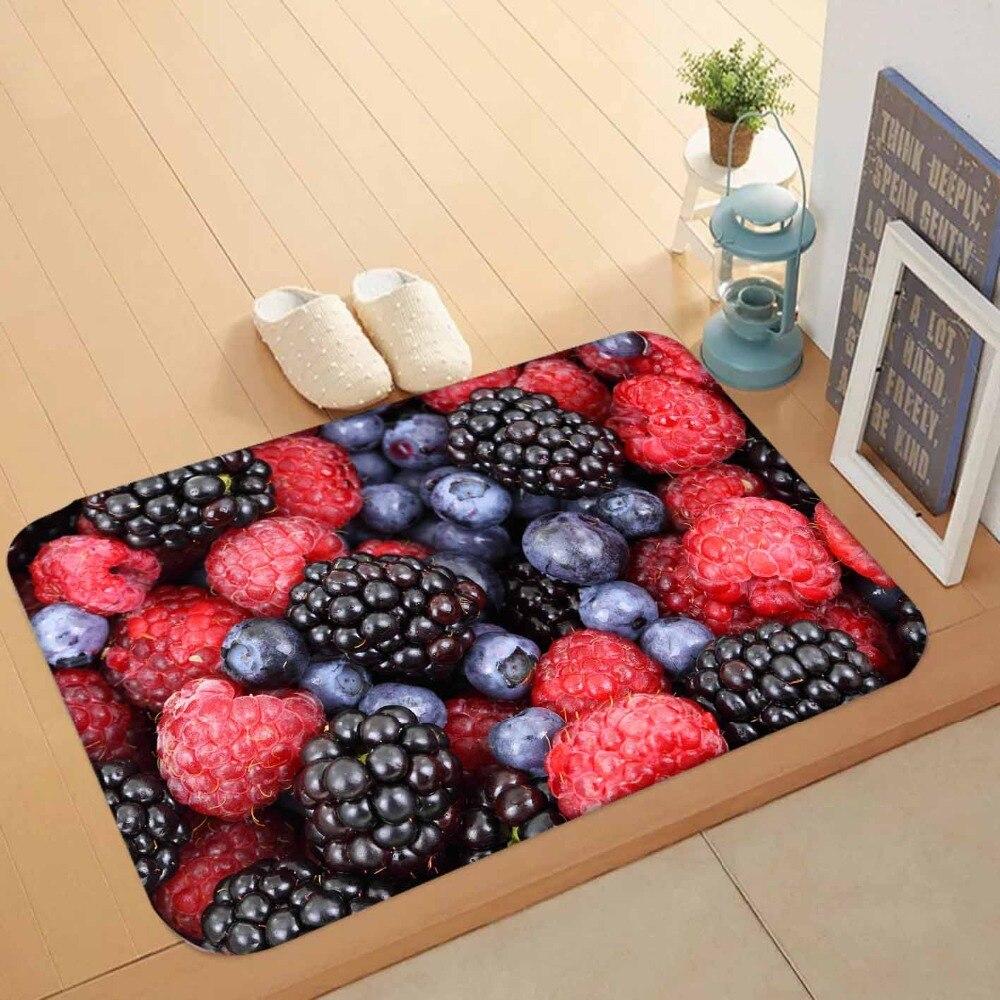 Else Red Blackberry Fruits Black Plum Fruits 3d Pattern Print Anti Slip Washable Doormat Home Decor Entryway Kitchen Mat