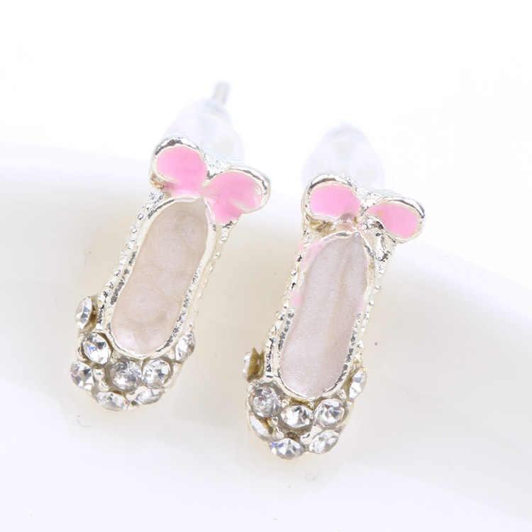 Womens Cô Gái Thời Trang Đồ Trang Sức 1 pair Đáng Yêu Tinh Tế Rhinestone Bowknot Giày Múa Ba Lê Ear Stud Earrings EAR-0190-PK