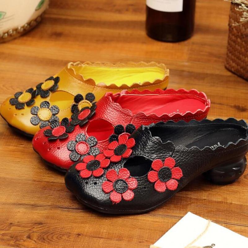 Mujeres Hecha rojo A 2019 Con amarillo Nacional Moda Flores Las Cuero De Negro Mano Hueco Genuino Estilo Zapatillas Baotou Sh054 8wq5UqRB