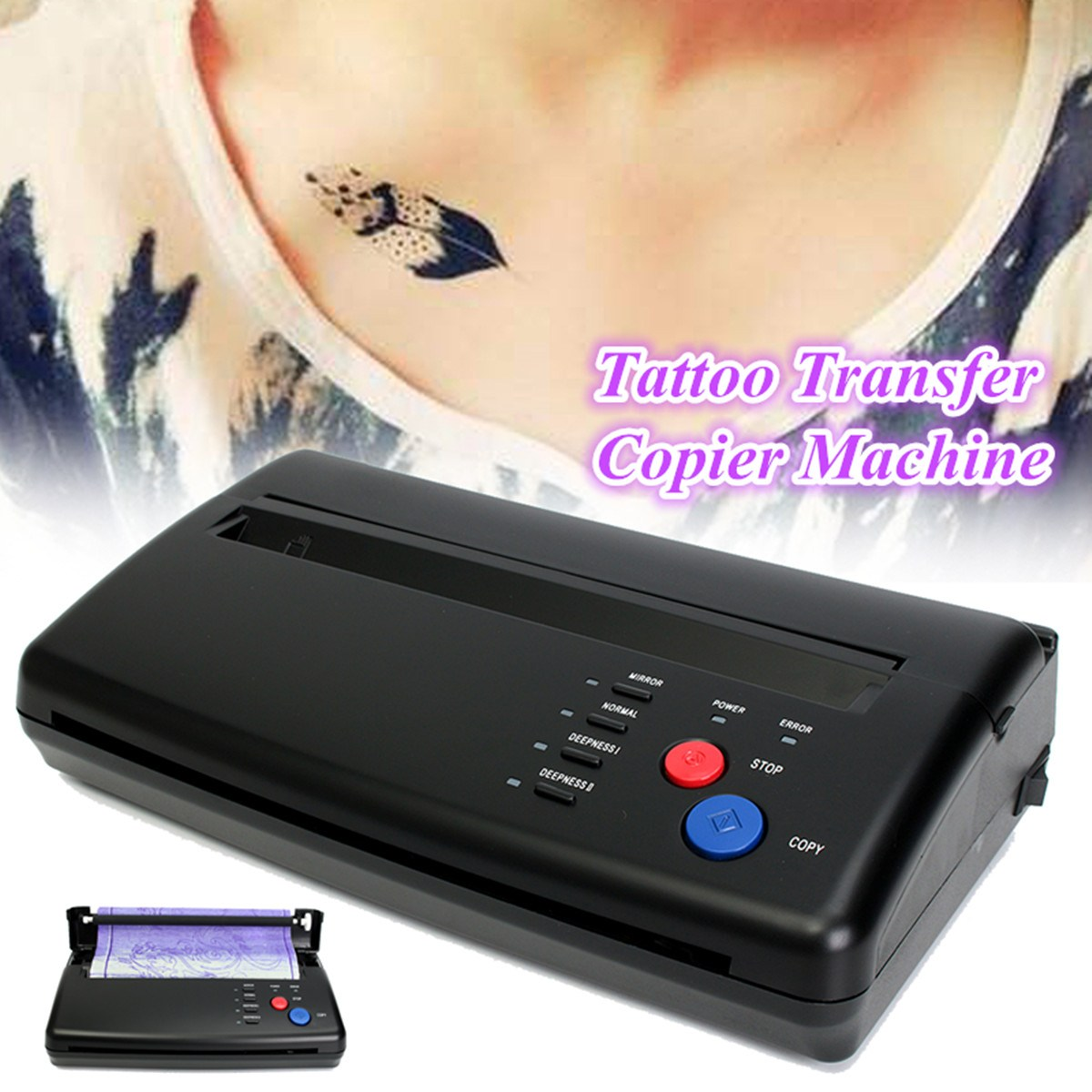 Black Tattoo Transfer Machine Printer Drawing Thermal Stencil Maker Copier For A5-A4 Tattoo Transfer Paper Australia Plug Black tattoo thermal stencil transfer paper maker copier printer machine ws d200 gift