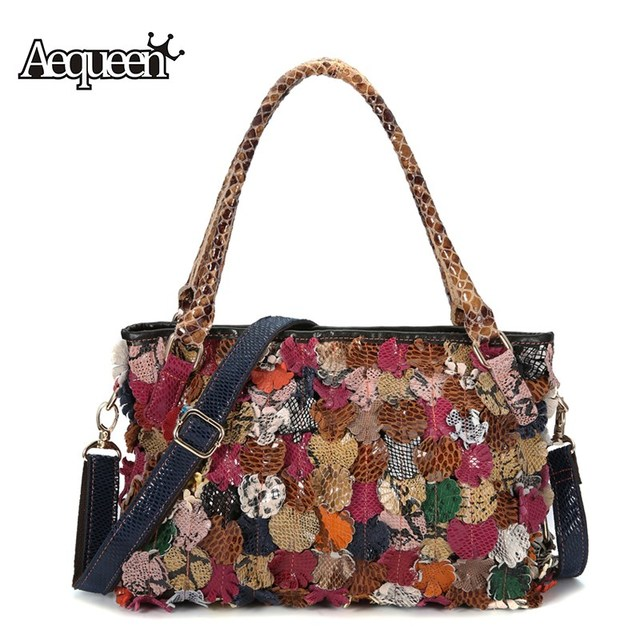 c53fe7a416e6 AEQUEEN Colorful Flower Handbags Women Shoulder Bag Lady Totes Cow Leather  Crossbody Bags Bright Style Trunk