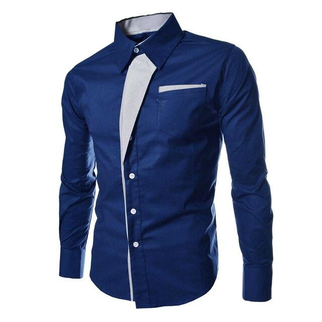 Shirt Men Casual Dress Shirts Slim Fit Cotton Formal Long Sleeve ...