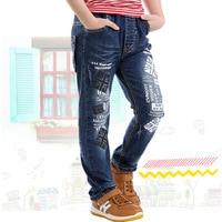 Muchachos azules Jeans Encuadre de cuerpo entero Pinta Carta de Mezclilla Pantalones Pantalones de Los Muchachos 2017 Ropa Para Niños de 3 4 6 8 10 Años de Edad RKP175017