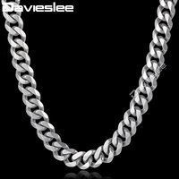 Davieslee Mens Chain 316L Stainless Steel Necklace 14 5mm Silver Tone Polished Cut Curb Cuban Link