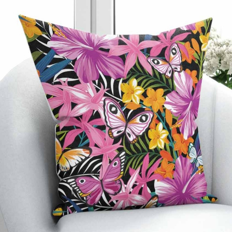 Else Green Leaf Yellow Purple Flowers Pink Butterfly Retro 3D Print Throw Pillow Case Cushion Cover Square Hidden Zipper 45x45cm