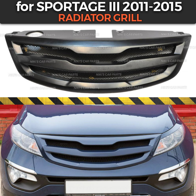 Radiator grill case for Kia Sportage III 2011 2015 with crossbar ABS plastic body kit aerodynamic