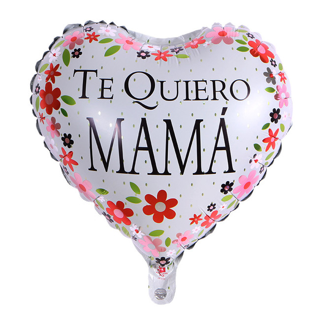 2PCS Love Heart Foil Balloons Print I You Mom Globos For Mothers Day Birthday Flowers Decoration