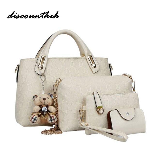 4c3a75c7f2b 4 PCS/Set Women Bag Crocodile Pattern Composite Bag Vintage Women Messenger  Bags Shoulder Handbag Purse Wallet Leather Handbags