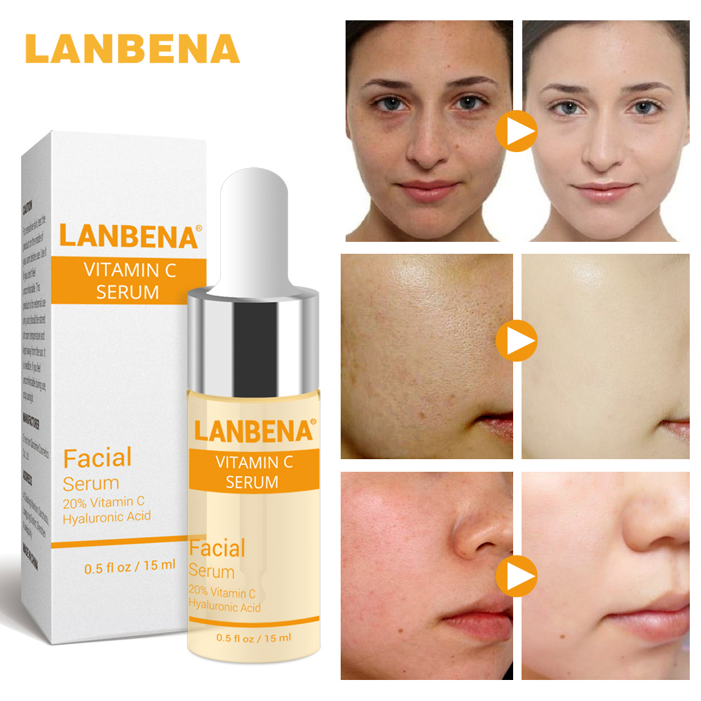 LANBENA Oil Control Vitamin C Serum Moisturization Essence Liquid Skin Face Whitening Anti Aging Fade Spots Removing Freckle in Serum from Beauty Health
