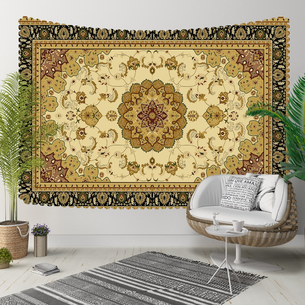 Else Brown Yellow Authentic Persian Turkish Design 3D Print Decorative Hippi Bohemian Wall Hanging Landscape Tapestry Wall Art