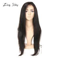 Brazilian Straight Full Lace Human Hair With Baby Hair 180%Density Remy Natural Color Wig Real Hair Knots ZingSilky Hair Vendors