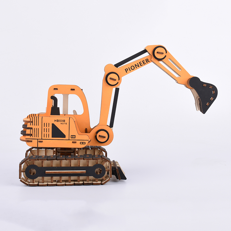 Excavator assembly wood model ships 3D diy toys for boys designer machine maquette voiture a construire juguetes in Model Building Kits from Toys Hobbies