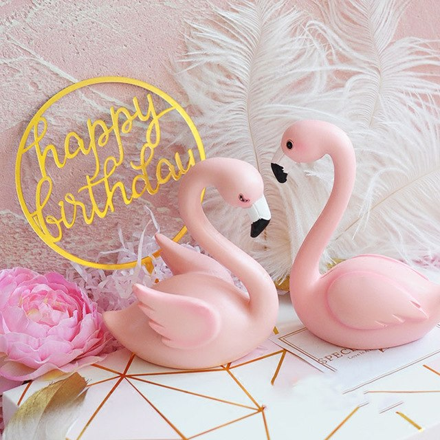 Pink Flamingo with Crown Cake Topper DIY Cupcake Toppers Happy Birthday Cake Topper Flamingo Birthday Cake Decoration Wedding birthday cake