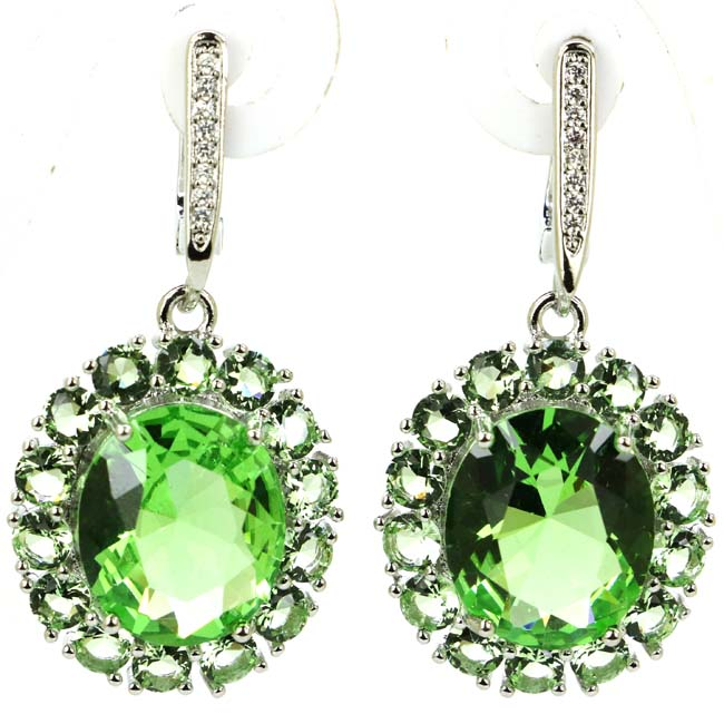 Gorgeous Round Green Tsavorite Garnet White Cubic Zirconia Lady's Party Silver Earrings 36x18mm
